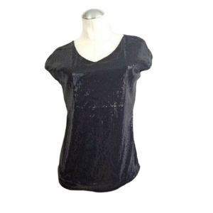 3/$25 The Limited Size M Black Sequin Top